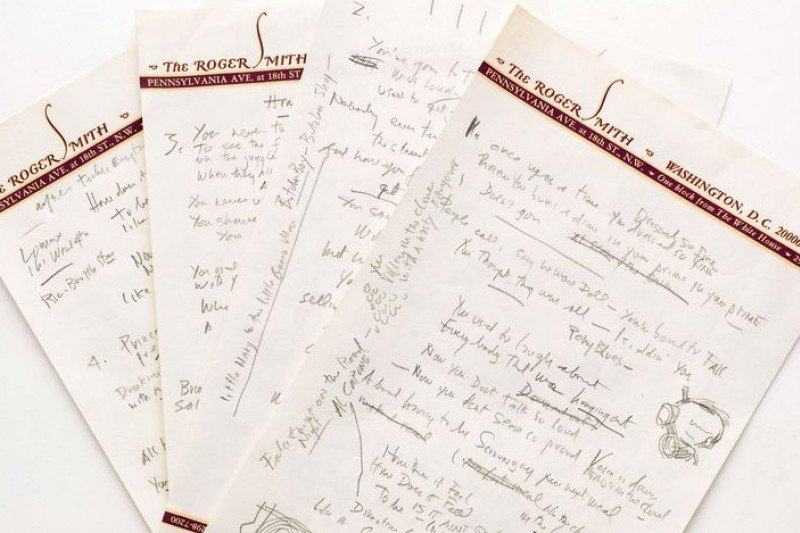 巴布狄倫經典作品《宛若滾石》的歌詞手稿(美聯社)