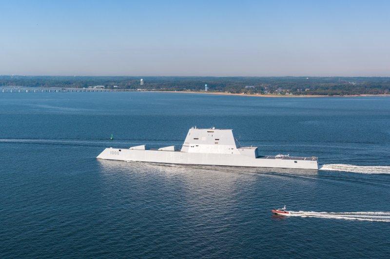 號稱史上最先進的朱瓦特級(Zumwalt class)驅逐艦正式編入美國海軍艦隊。(翻攝美國海軍官網)