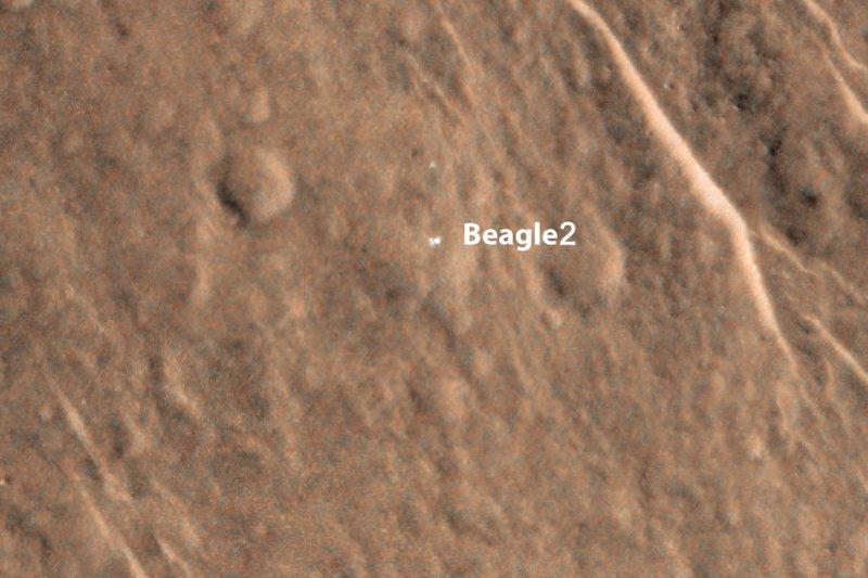 「小獵犬二號」(Beagle 2)的火星著陸地點,攝於2014年(Wikipedia / Public Domain)