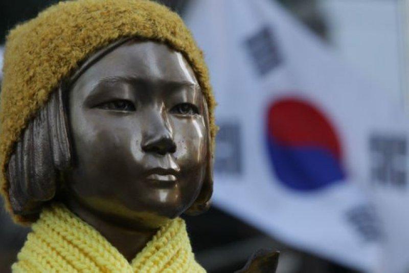 2015年12月28日,首爾,日本大使館外象徵慰安婦問題的少女塑像。(BBC中文網)