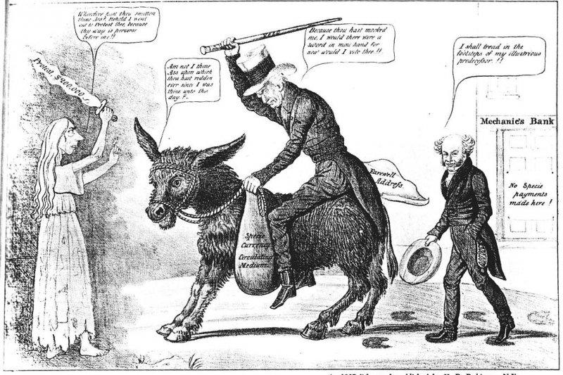 當時諷刺安德魯.傑克森和范布倫的漫畫。(wikipedia/public domain)
