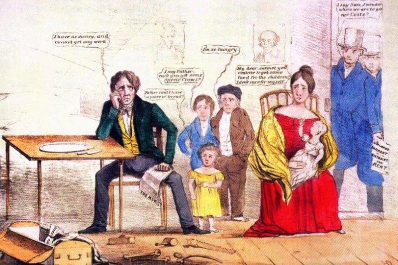 描述1837年美國經濟大恐慌的漫畫。(wikipedia/public domain)