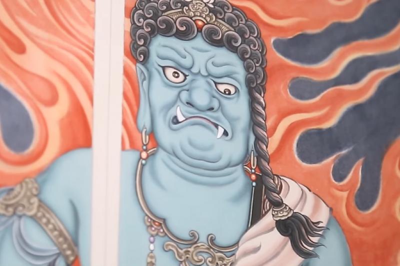 佛畫創作筆觸、墨色、紙質駕馭十分困難。(翻攝自YouTube)