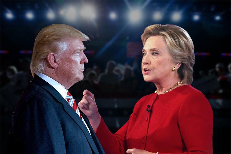 美國總統候選人川普與希拉蕊(照片:AP/製圖:風傳媒)