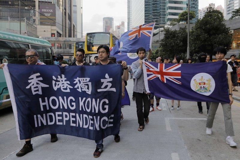 香港「反釋法」遊行6日爆發衝突(AP)