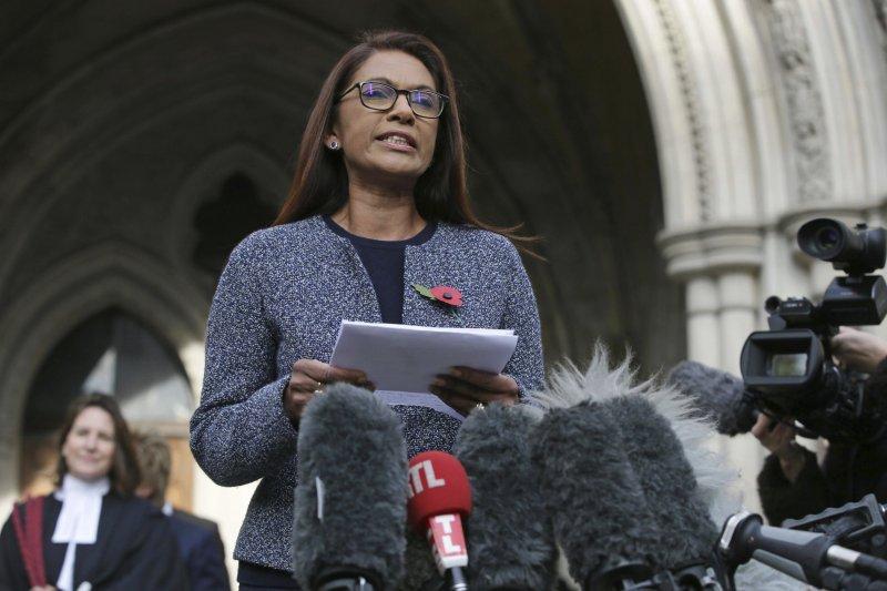 提案請英國高等法院做出裁決的米勒女士說:「我們自己掏腰包為未來創造穩定感。」(美聯社)
