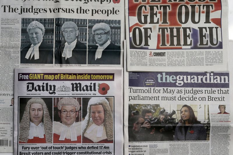 部分英國紙媒回嗆英國高等法院的裁定(美聯社)