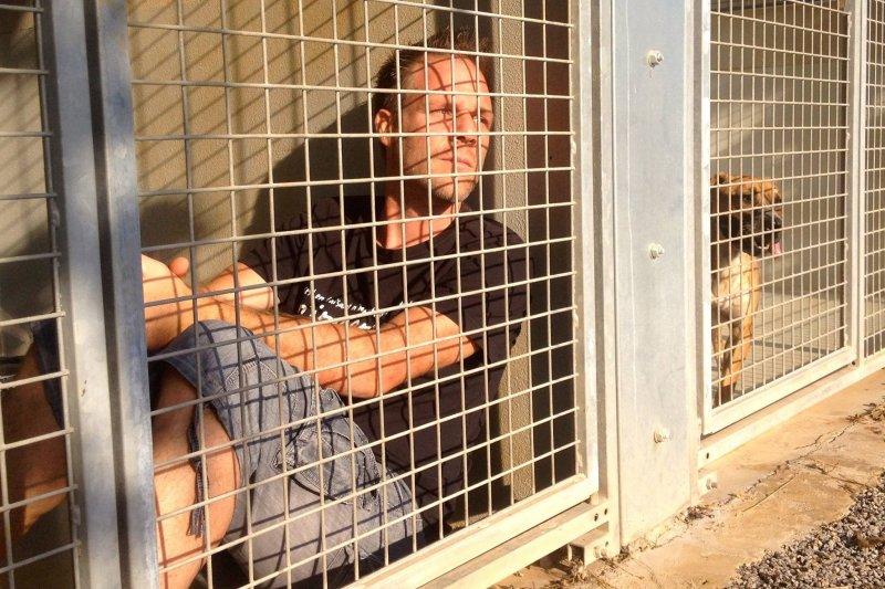 法國行動藝術家雷米為了替收容所動物發聲,決定無限期居住在收容所裡,直到300隻動物全數被領養。(圖/雷米蓋拉德@facebook)