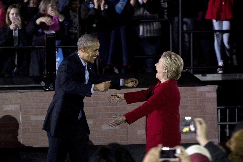 美國民主黨總統候選人希拉蕊於投票前1天在賓州造勢(美聯社)