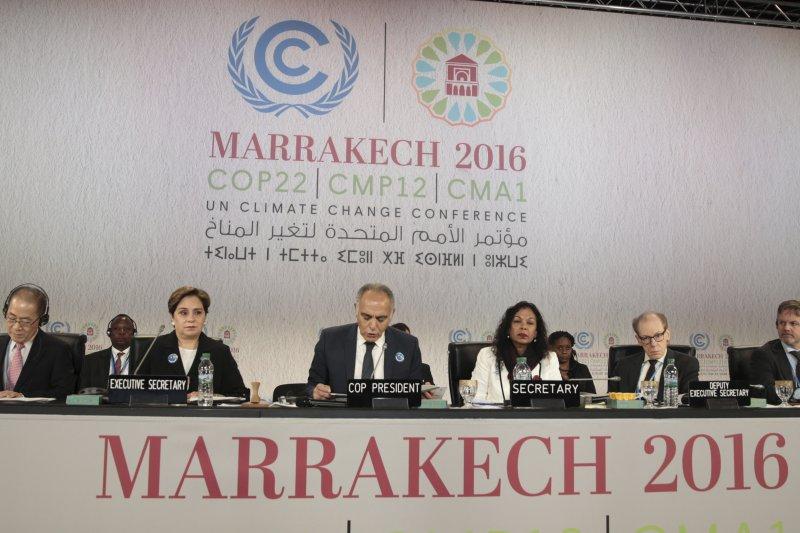 《聯合國氣候變化框架公約》第22次締約國大會在摩洛哥古城馬拉喀什舉行。(美聯社)