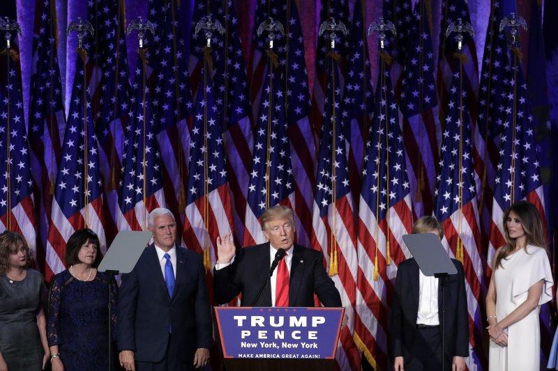 美國新任總統當選人川普9日發表勝選演說(AP)
