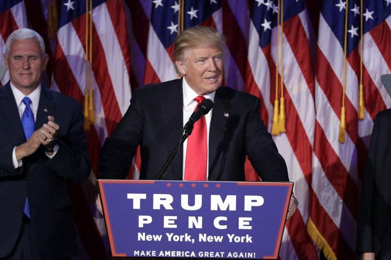 美國新任總統當選人川普9日發表勝選演說(美聯社)