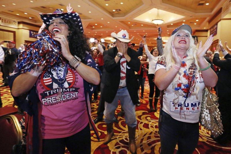 川普當選,支持者欣喜若狂。(美聯社)