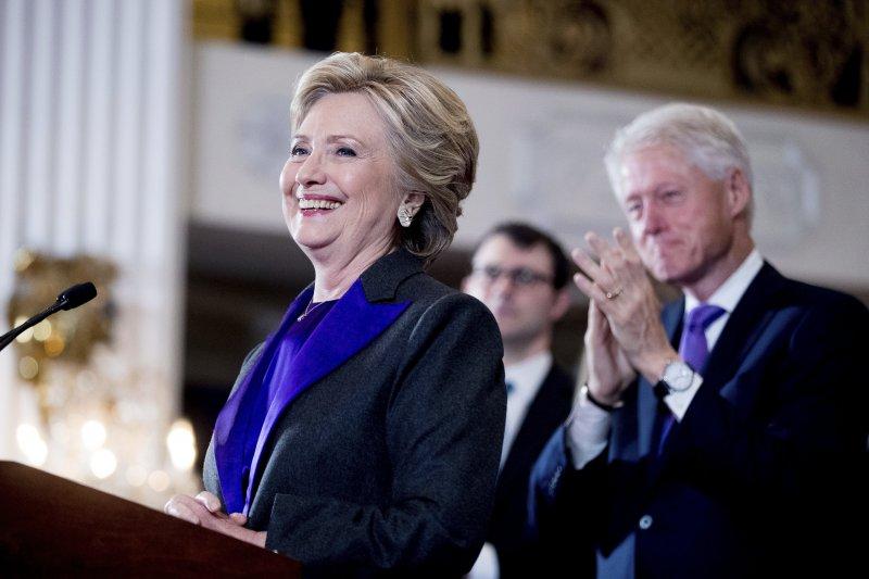 民主黨總統候選人希拉蕊發表敗選感言。(美聯社)
