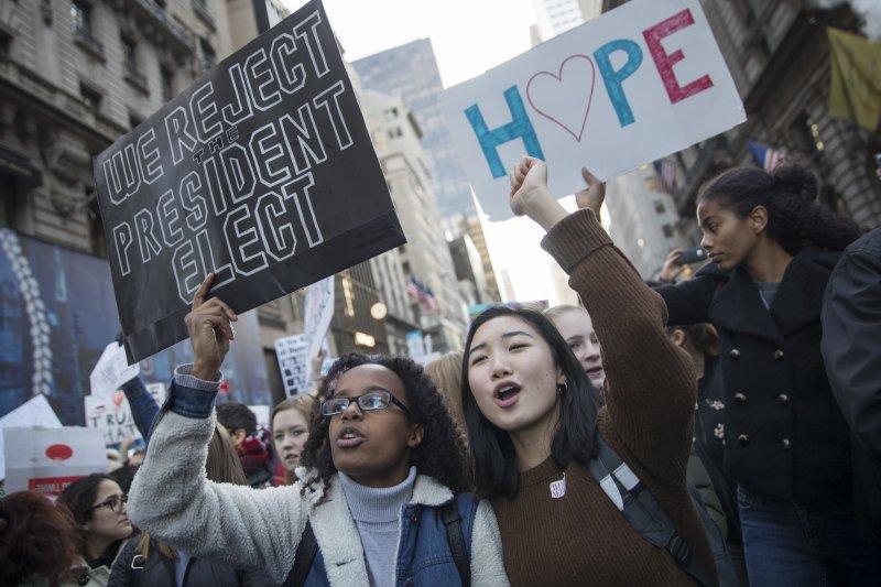 美國第一大城紐約的反川普示威活動(美聯社)
