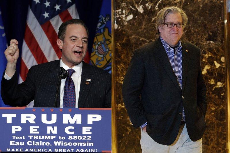 美國總統當選人川普任命共和黨全國委員會主席蒲博思(Reince Priebus,左)接任白宮幕僚長、極右派媒體人巴農(Stephen Bannon)出任策略長與資深顧問(AP)