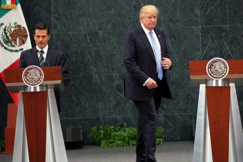 2016年8月31日川普會見墨西哥總統涅托。(美聯社)