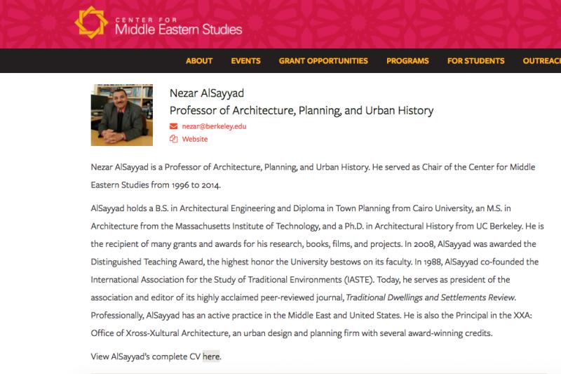 艾爾沙耶在加州大學柏克萊分校網站上的資訊。(圖取自UC Berkeley)