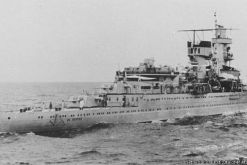荷蘭皇家海軍二戰時的魯伊特號輕巡洋艦。(BBC中文網)