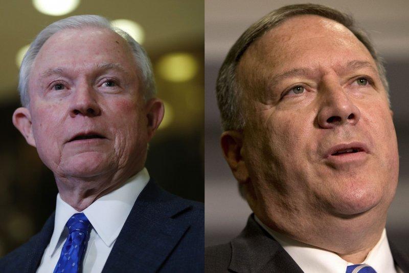 美國總統當選人川普提名阿拉巴馬州聯邦參議員賽辛斯(Jeff Sessions,左)、堪薩斯州聯邦眾議員龐畢歐(Mike Pompeo)出任司法部長、中央情報局長(AP)
