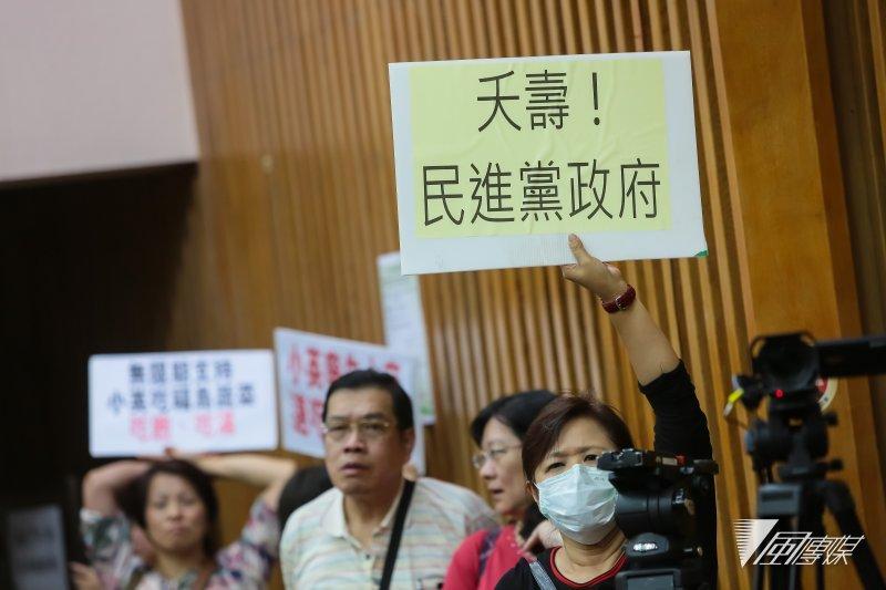 農糧署稍早前舉行日本食品輸台公聽會,現場民眾高舉標語表示反對。(圖/顏麟宇攝)