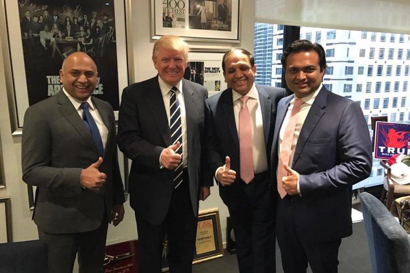 美國總統川普日前會見3名印度房地產大亨(Twitter)
