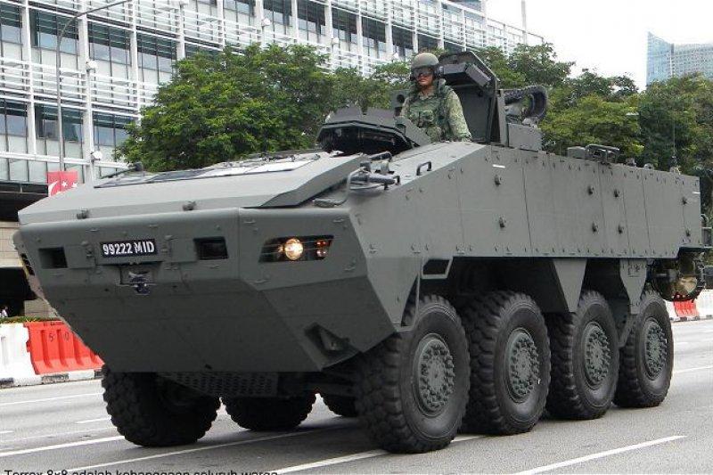 星國先前秘密運至台灣供星光部隊在台演訓使用的Terrex AV-81八輪甲車,卻在運返新加坡途中,在香港被海關查緝意外曝光。圖為AV-81裝甲車(取自www.armyrecognition.com)