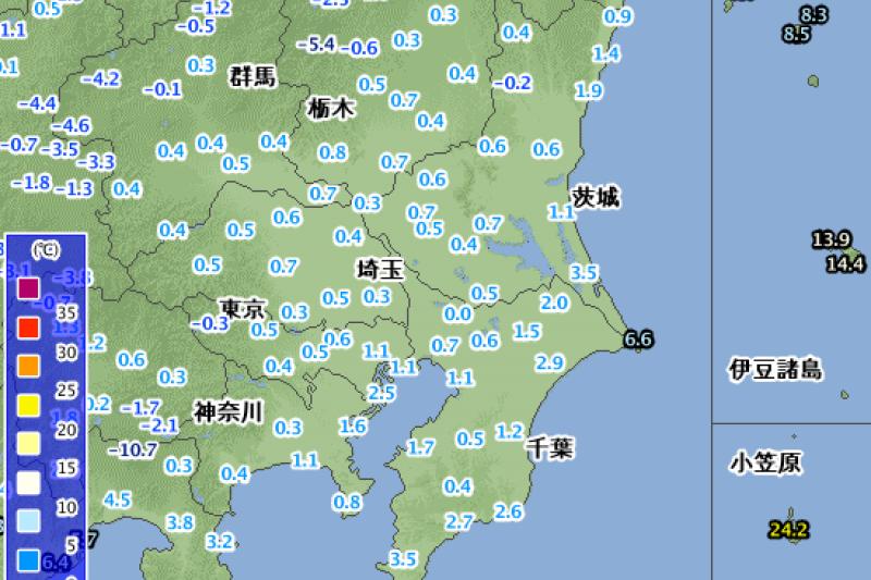 日本關東地區24日上午10點的氣溫。(日本氣象廳)