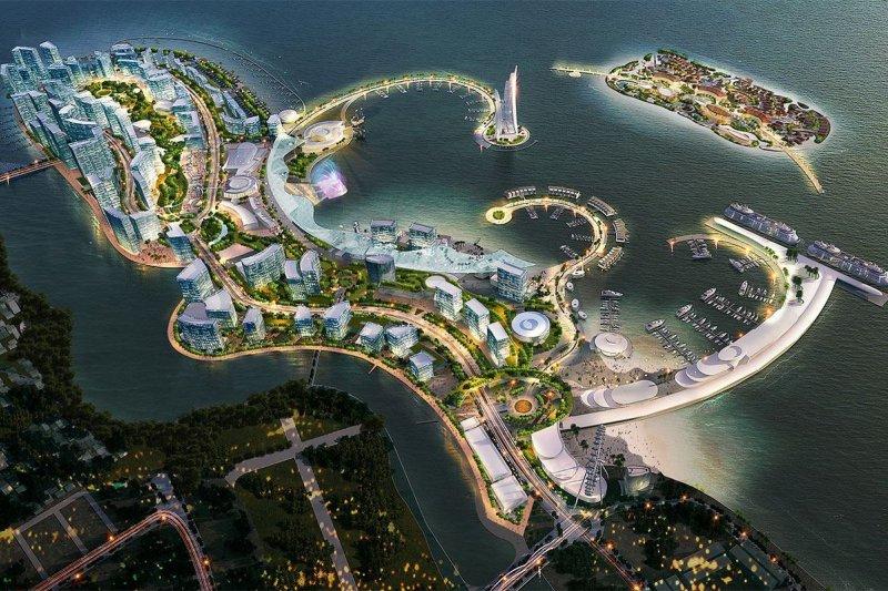 中共積極沿著中東到南海的海洋航線建立一系列的軍事與航運據點在,馬來半島南部,瀕臨麻六甲海峽的皇京港(Melaka Gateway)建設一個能夠滿足大型貨船需要的深水碼頭,預計2025年完工。(取自麻六甲皇京港臉書)
