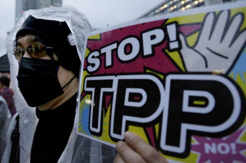 2014年,日本東京反對TPP的示威者上街遊行(AP)