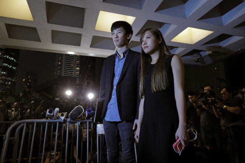 香港本土派政黨「青年新政成員」、香港獨立運動支持者游蕙禎(Yau Wai-ching)、梁頌恆(Sixtus Leung)(AP)
