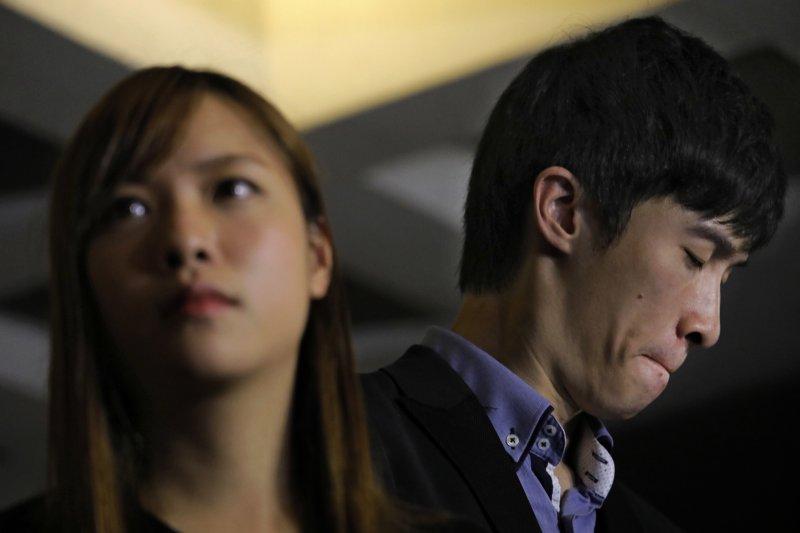 香港本土派政黨「青年新政」成員、香港獨立運動支持者游蕙禎(Yau Wai-ching)、梁頌恆(Sixtus Leung)(AP)