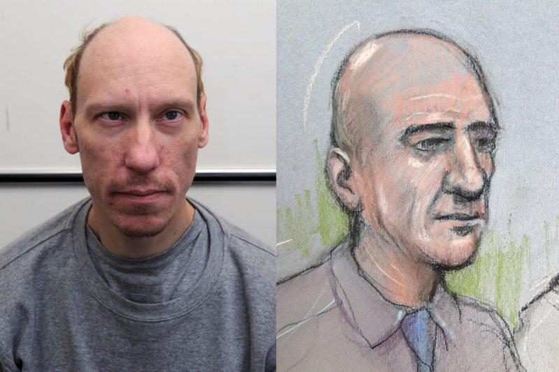 英國連續殺人魔波特(Stephen Port)遭判無期徒刑,右為法庭素描圖(AP)