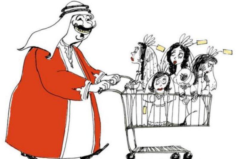 埃及女漫畫家阿德勒畫出一名阿拉伯男人推著裝滿女性的購物車(BBC中文網)