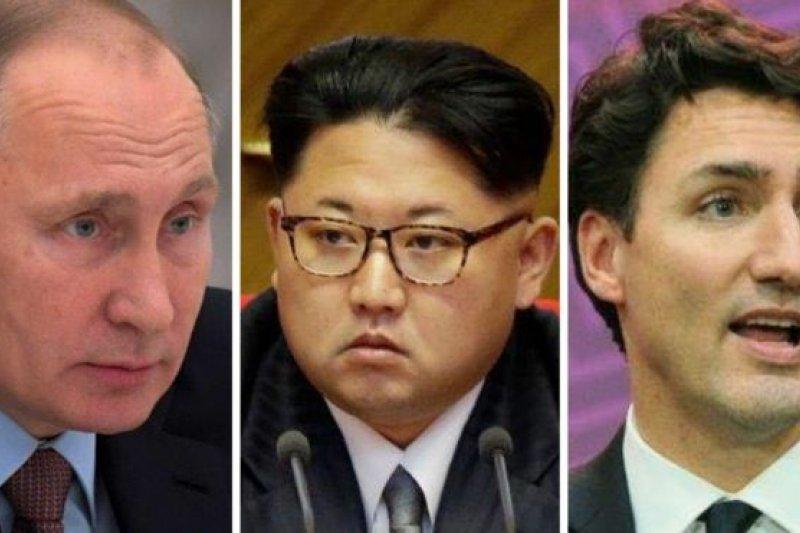 普京(左)、金正恩(中)和杜魯道均不出席卡斯楚的追悼會。(圖取自BBC中文網)
