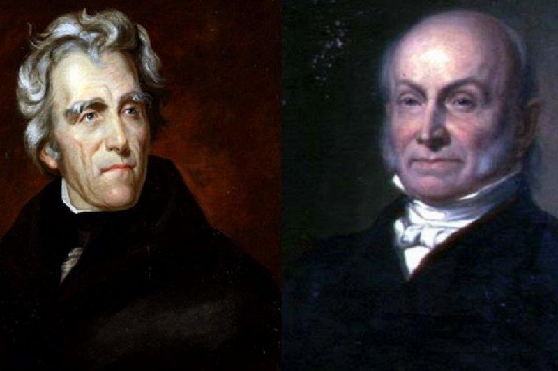 1824年,美國總統大選無候選人獲得過半選舉人票,因此由聯邦眾議院選出亞當斯(右)成為新總統,擠下普選票和選舉人票都勝出的傑克遜(左)