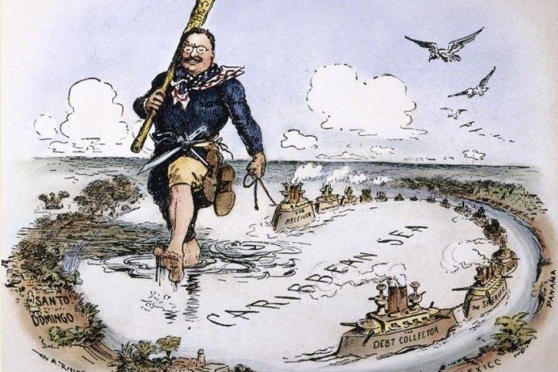 漫畫家以老羅斯福拿著巨棒守護加勒比海,形容當時的「巨棒外交」。(wikipedia/public domain)