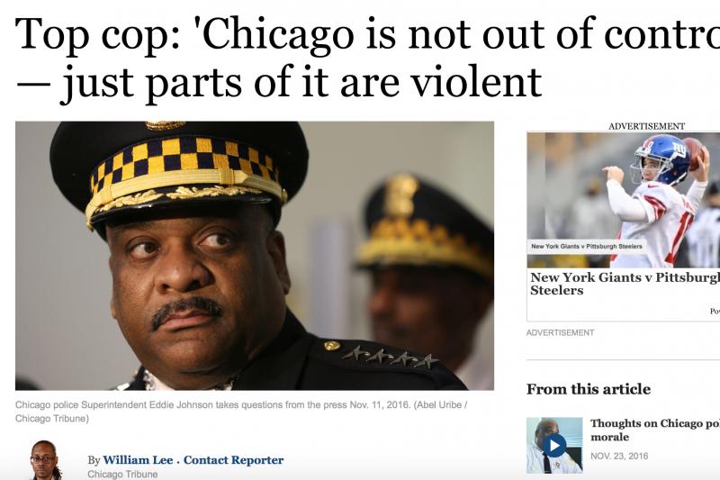 芝加哥警察局長強森認為,雖然芝加哥今年雖然有711人死於兇殺,但「當地治安並未失控」。(翻攝網路)