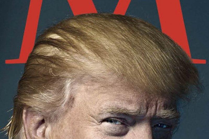 美國總統當選人川普的《時代》雜誌封面照,被眼尖網友發現頭上長角,有如撒旦化身(AP)