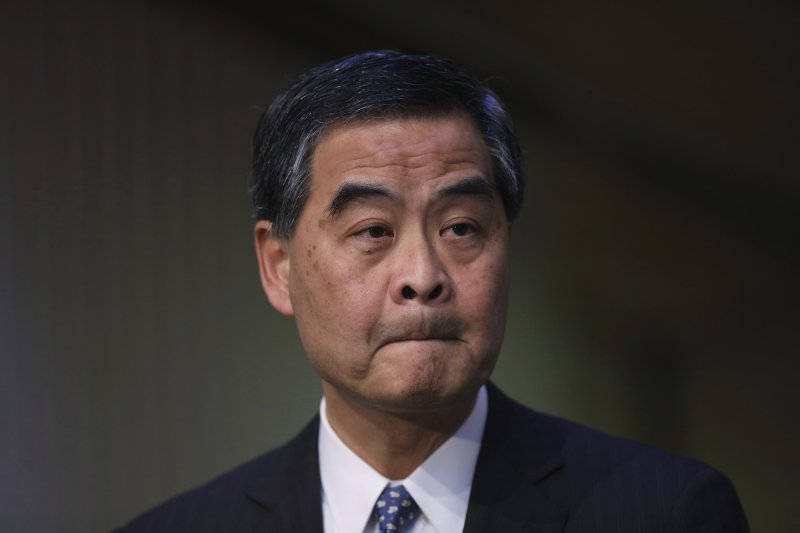 香港特首梁振英9日突然宣布不會競選連任。(AP)