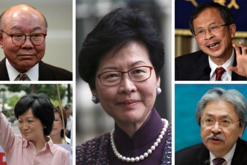 五名香港特首潛在人選:胡國興(左上)、葉劉淑儀(左下)、林鄭月娥(中)、曾鈺成(右上)、曾俊華(右下)(BBC中文網)