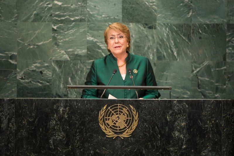智利總統巴舍萊在第71屆聯合國大會總辯論發言稱,將在2017年向國會提交同性婚姻法案(翻攝聯合國官網)