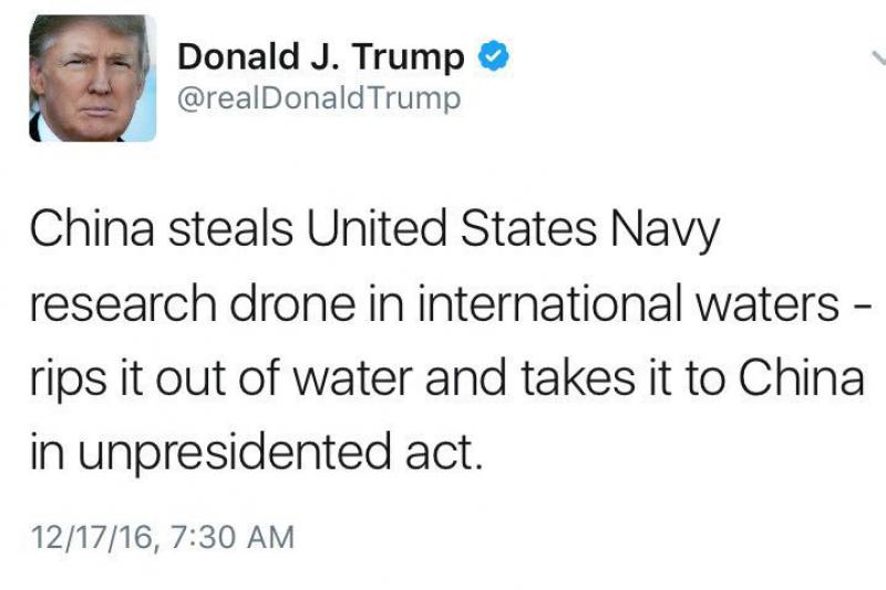 美國總統當選人川 普在推特上嗆中國,不幸將「unprecedented」(史無前例的)拚成「unpresidented」(沒 有總統的)(取自網路)