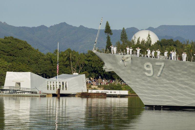 美國海軍亞利桑那號戰艦紀念館。(美聯社)