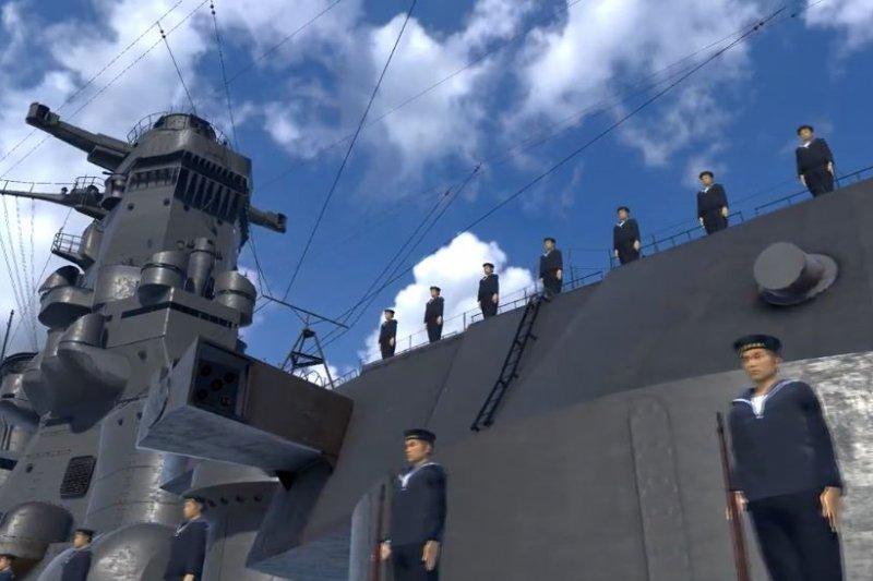 玩家戴上VR頭盔登艦後,便會有大批海軍並列迎接。(翻攝影片)