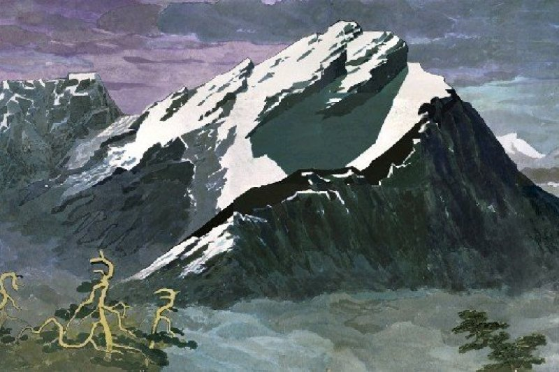 馬白水,《玉山積雪》,1989。(圖片:國立台灣美術館/想想論壇提供)
