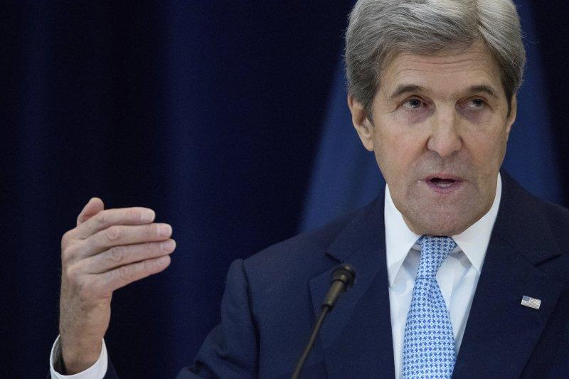 美國國務卿凱瑞發表談話,解釋美國在聯合國安理會棄權的原因(AP)