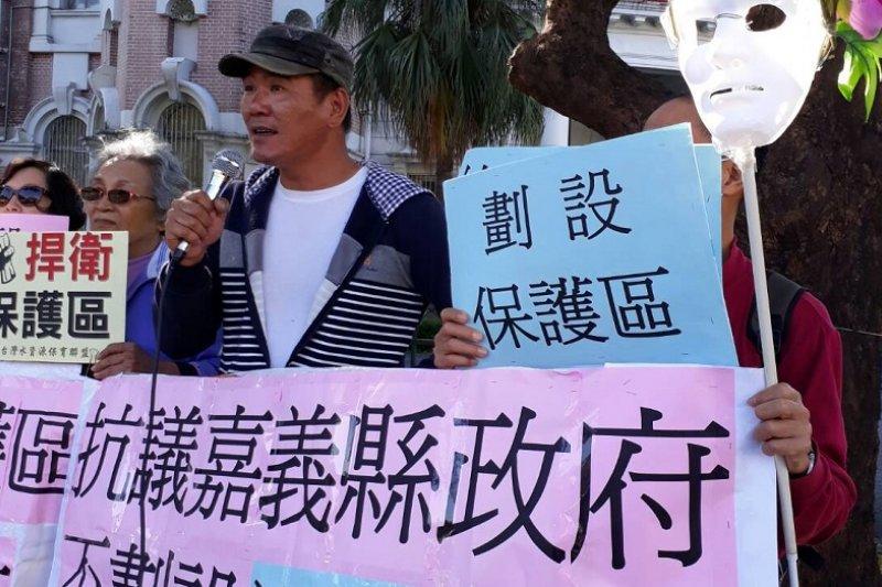 環保團體到監察院,抗議湖山水庫不劃保護區。(朱淑娟提供)