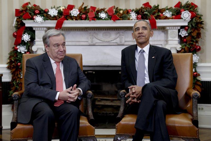 聯合國新任秘書長古特雷斯與歐巴馬在白宮會面。(美聯社)