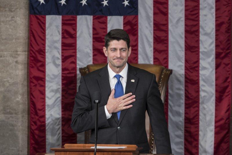 美國第115屆國會開議,共和黨籍的萊恩(Paul Ryan)連任議長(AP)